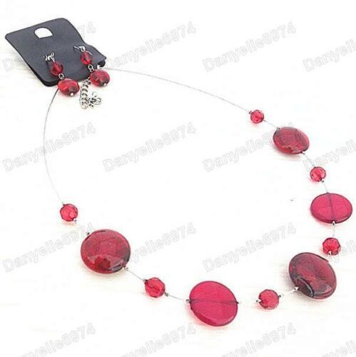 RED NECKLACE/&EARRINGS SET silver tone RETRO glass foil /& acrylic beads RRP £8