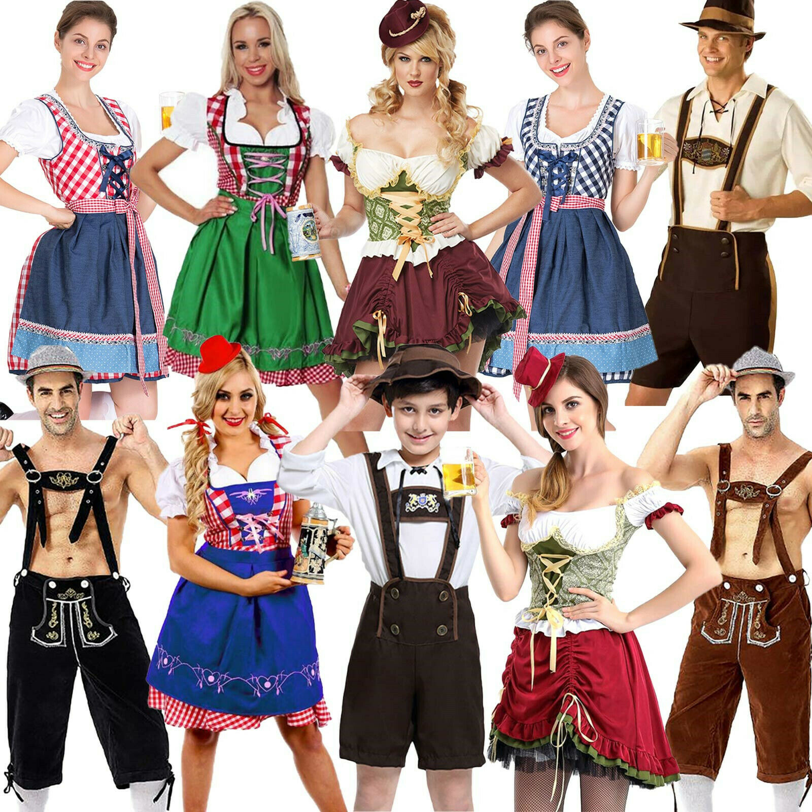 Trachtenkleid Damen Karneval Dirndl Kostüm Oktoberfest Trachtenmode Cosplay Neu