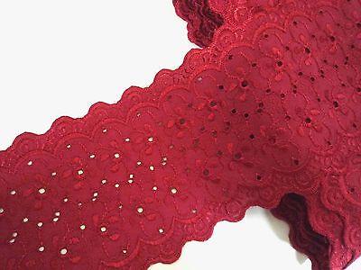 """Un-stretch Red Emborideries Flower Eyelet Cotton Trim 5""""/12.7 cm width L221"""