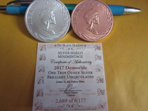 1 oz  .999 silver//copper shield   Democide  License to Murder BU
