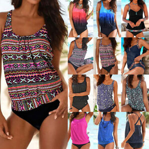 2e2c1f71316 Image is loading Womens-Blouson-Sporty-Tankini-Sets-Swimwear-Top-Short-