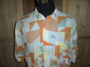 vintage-YET-IT-ALL-Hemd-crazy-pattern-Viskose-shirt-90er-Jahre-gemustert-XL
