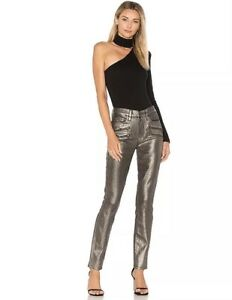 Paige 27 Jeans Waist Champagne Rosie Stevie Hw Skinny Gold Sz Ny Metallic High daqw1Ipd