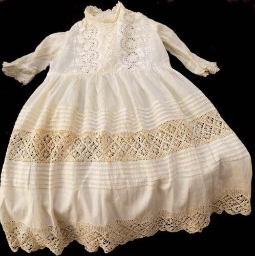 Antique Girl's White Dress, Tucks, Crochet Lace, E