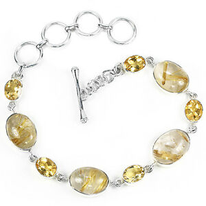 GENUINE-21-63tcw-Brazilian-Citrine-amp-Gold-Rutilated-Quartz-Bracelet-Silver-925