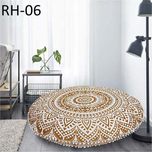 Floor Cushion Round Patchwork Seating Meditation Bohemian Pillow Throw Cover