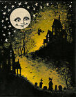 ACEO PRINT OF HALLOWEEN FOLK ART PAINTING RYTA VINTAGE STYLE BLACK CAT MOON