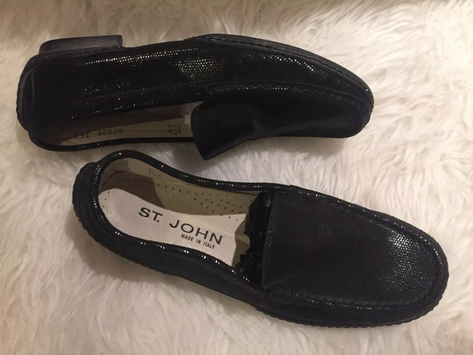 St John John John antideslizante en mocasines pisos Negro Brillo Talla 6.5  nueva marca