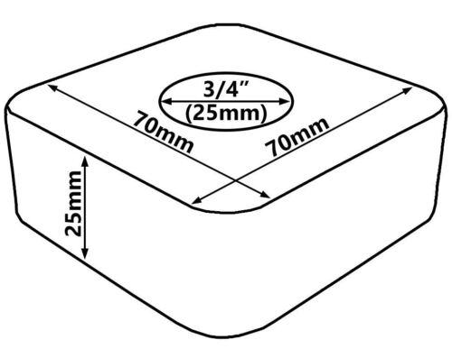 """Verchromter Stahl 3//4/""""Kragen quadratische Rosenabdeckung Rosette 25mm Höhe"""