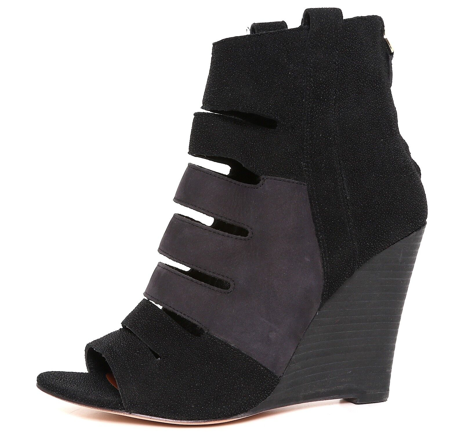 Rebecca Minkoff Pebbled Leather Peep Toe Wedge Bootie Black Women Sz 8M 1214
