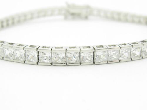 Platine Argent Sterling Blanc Saphir taille princesse TENNIS BRACELET TRIPLE LOCK