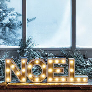Details About Wooden Noel Sign Battery Operated Light Up Marquee Letter Christmas Decoration