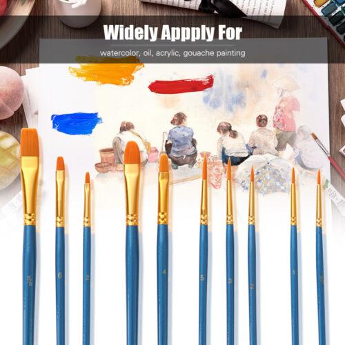 50X Nylon Hair Paint Brushes Set Artist Paintbrush Lot Multiple Mediums Brushes