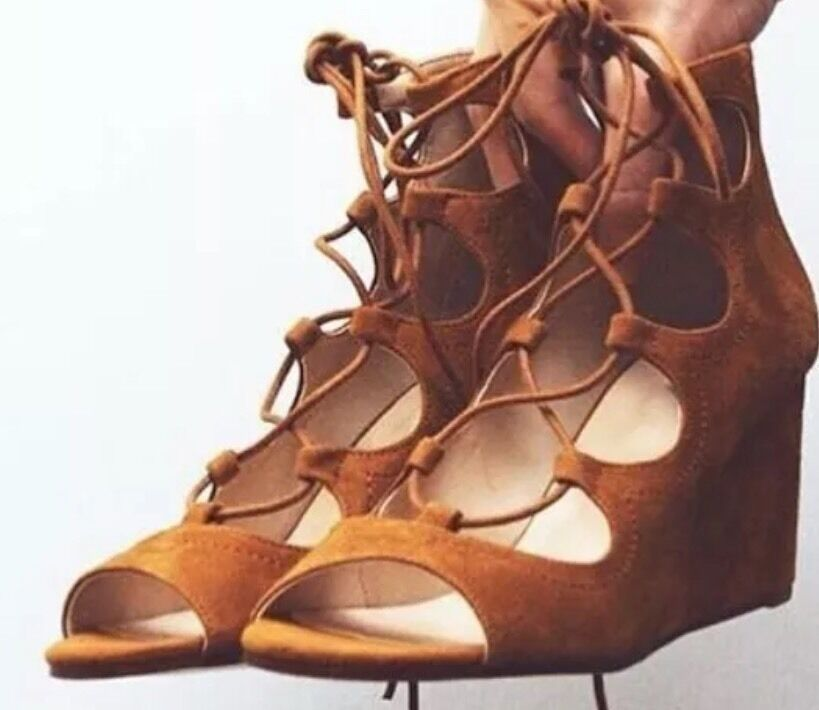 ZARA Tan braun Lace Up Leather Wrap Wedges Sandals UK 5 Euro 38 schuhe