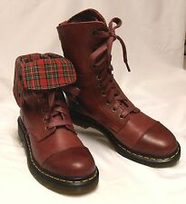 DR DOC MARTENS Aimilie Size 8-8.5 (UK6) Burgundy Red Leather 2-Way Combat Boots