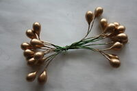 24 x GOLD PLASTER HOLLY BERRIES 8mm DOUBLE ENDED WIRED STEMS CHRISTMAS CRAFT