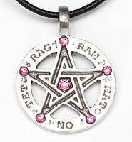 Pewter Amulet Pentagram Tetragrammaton Pink Crystal October Birthstone Pendant