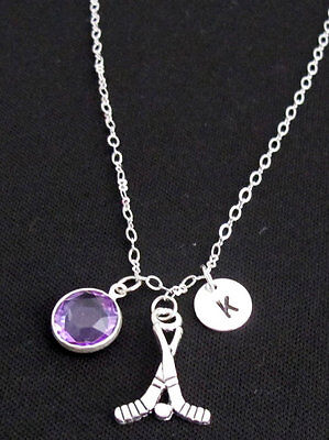 Silver Ice HockeyPersonalize hockey sticks charm necklace, birthstone,Initial