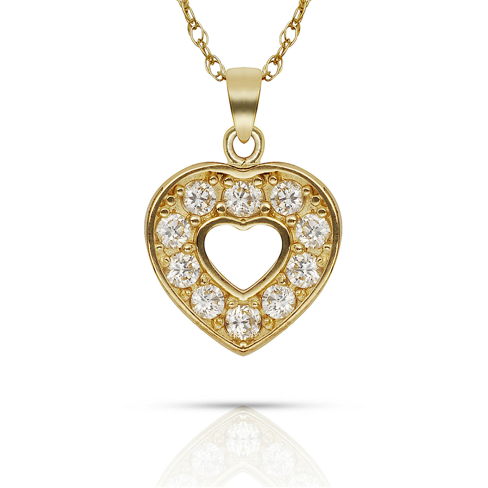 0.20ct White Sapphire Round Cut Open Heart Pendant 14k Yellow gold Charm