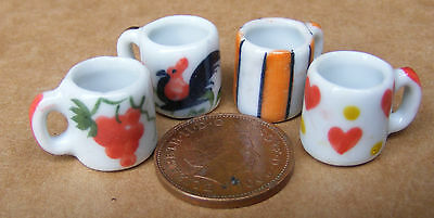 1:12 Scala 4 Diverse Tazze In Ceramica Casa Delle Bambole Accessori Da Cucina In Miniatura C-mostra Il Titolo Originale Dolorante