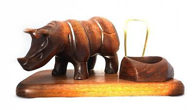 New Hand Carving Wood Pipe stand rack Holders * Rhino * Case Display Handicraft