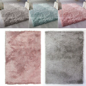 Fluffy Plain Small//Large Shaggy Pink Teal Duck Egg Blue Rugs Non-Shed Floor Mat