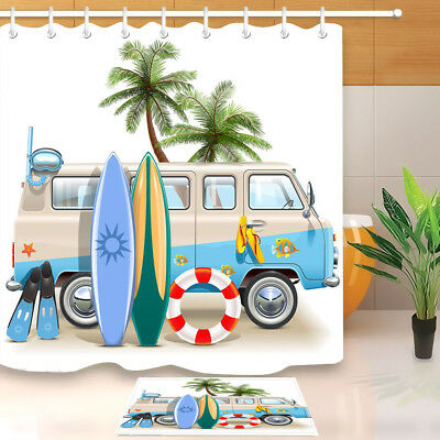 Shower Curtains Surf Vibes American Flag Palm Tree