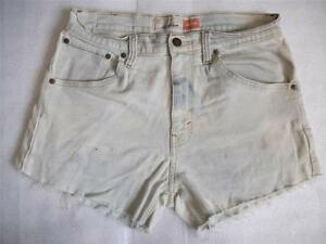Levi-High-Waisted-Shorts-Size-12-White-Bleached-Stretch-Vintage-Denim-Shorts-W32