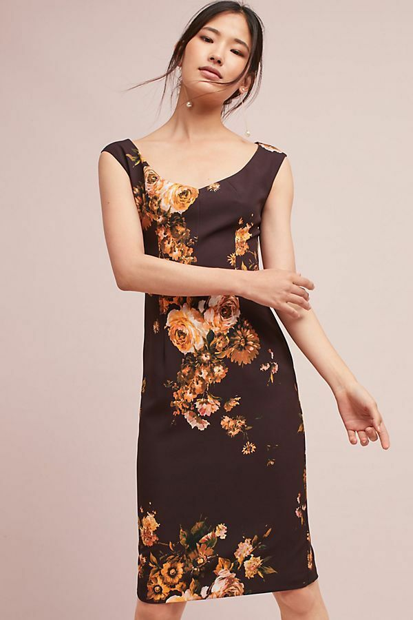 NWT - Feminine Ellaria Column Dress (Anthropologie  390) Brown Floral - 0, 2