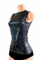 Sleeveless Crew Neck Top Sparkly Black/Black Shattered Glass Made To Order!