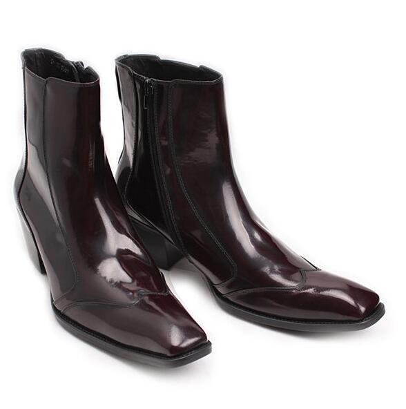 Cuero para Hombre Formal británico Oxfords Puntera Puntiaguda negocio dedo del pie cuadrado británico Formal Botas al tobillo y 177c4d
