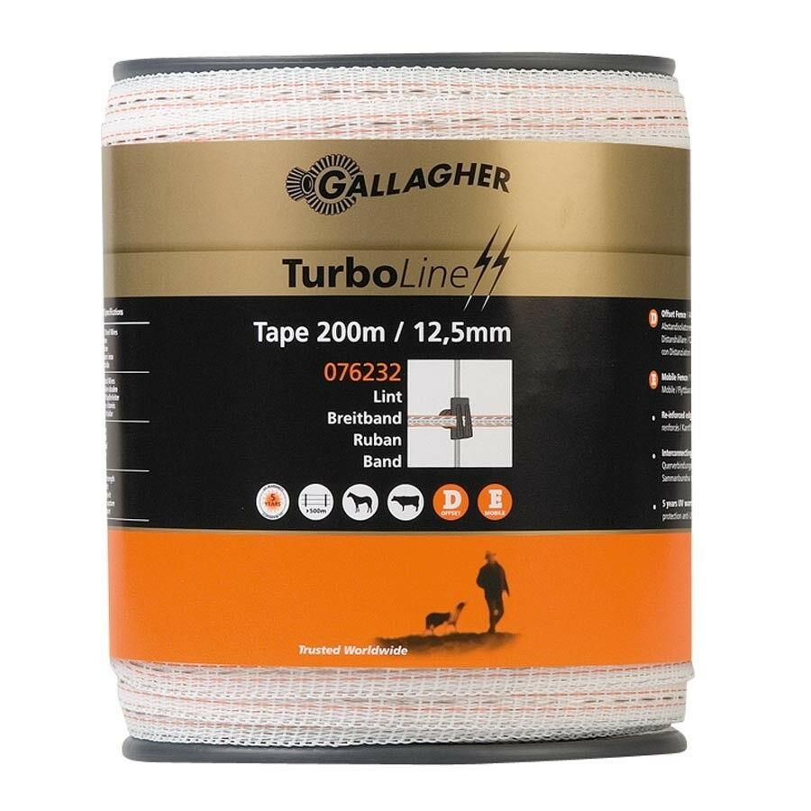 Gallagher TurboLine Electric 12.5mm Fence Tape 400M - 3 x stainless conductors