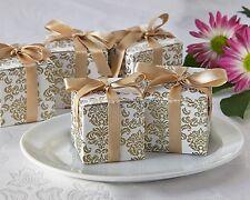 264 Gold Damask Mint Candy Anniversary Bridal Wedding Favor Boxes w/Satin Ribbon