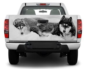 Husky Dogs Black And White Bw Tailgate Decal Sticker Wrap