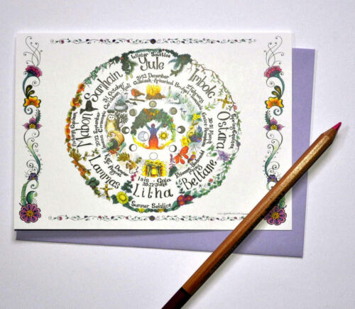 Wheel of the Year card calendar Pagan wiccan hand fasting  pagan love Celtic art