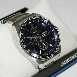 Seiko-Men-039-s-Solar-Blue-Dial-Stainless-Steel-Chronograph-Watch-SSC719P1