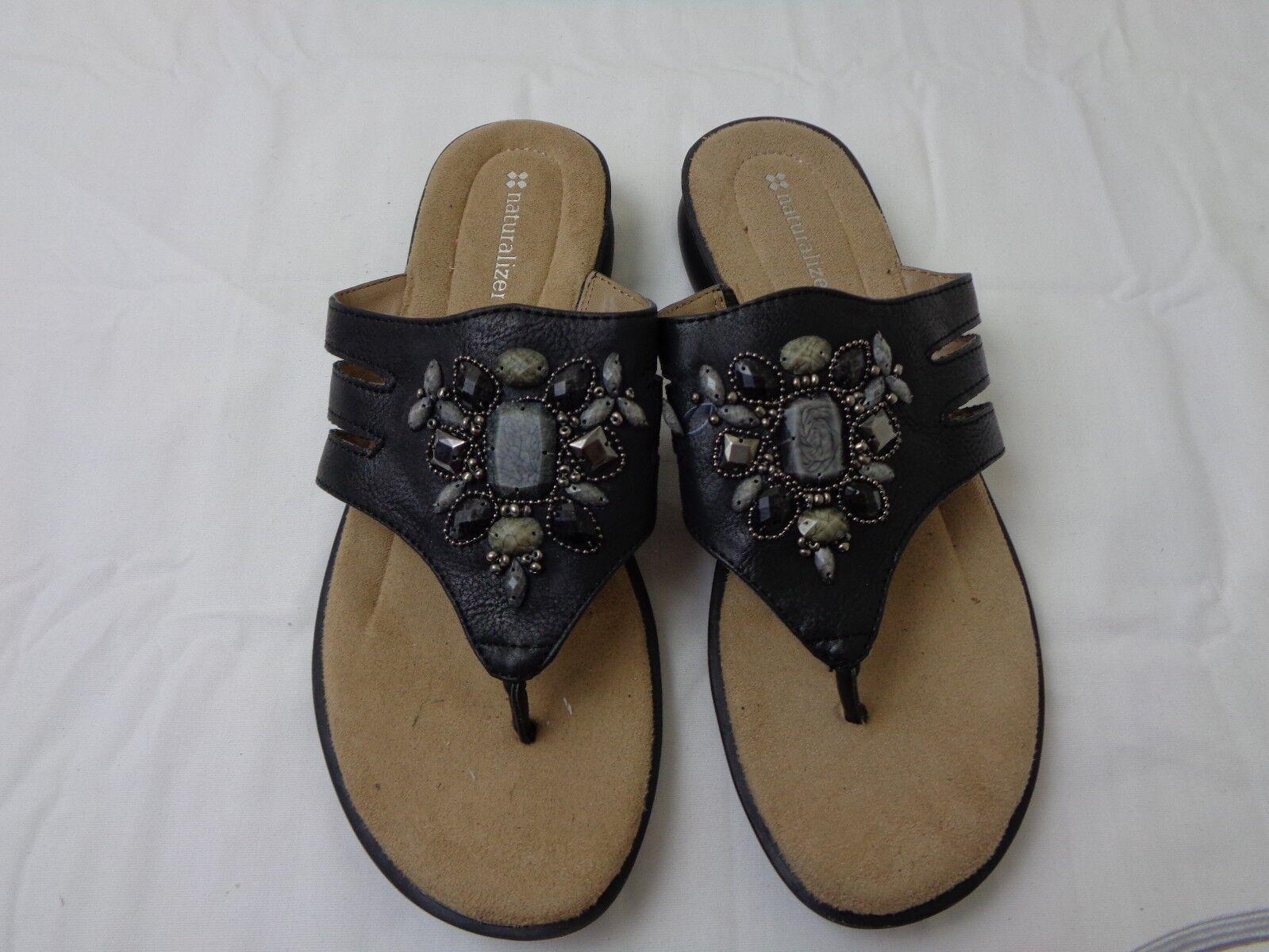 Vintage Naturalizer Black Thong Sandals Women's Size 7.5W