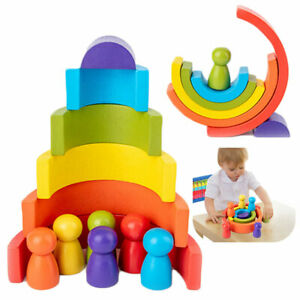 Rainbow-Shape-Children-Kids-Educational-Gift-Stacking-Toy-Wooden-Craft-6-Colours
