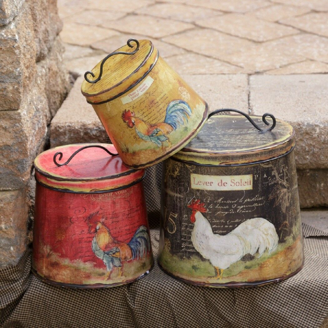 Rooster Rustic Tin Large 3 pc Nesting Round Storage Container Set with Lid