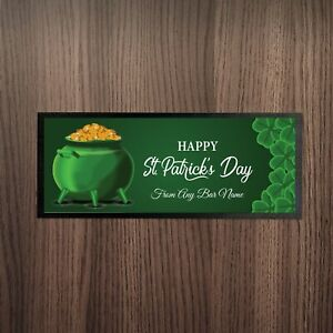 Personalised-Happy-St-Patrick-039-s-Day-Pot-Of-Gold-V2-Design-Bar-Runner-Pub-Party