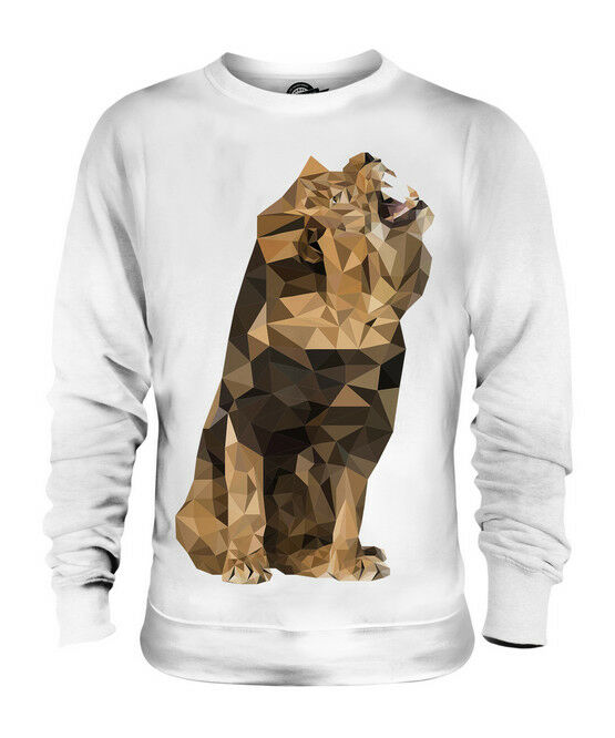 GEOMETRIC PATTERN LION ROAR UNISEX SWEATER  TOP GIFT ANIMAL NATURE