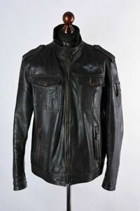 Strellson-Leather-Harrington-Jacket-Size-XL
