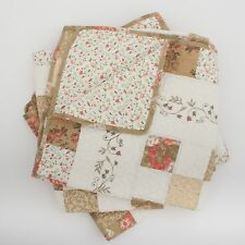 Shabby Chic Throw Quilt Blanket Rug Taupe Gold Cream Patchwork 150cm sq