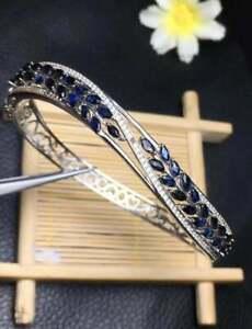 6-25-CT-Marquise-Cut-Blue-Sapphire-amp-Diamond-14K-White-Gold-Over-Bangle-Bracelet