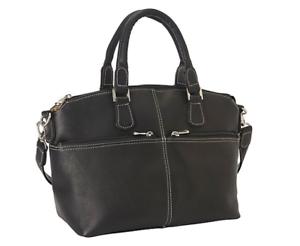 LeDonne-Leather-Classic-Satchel-Handbag-Purse-Black