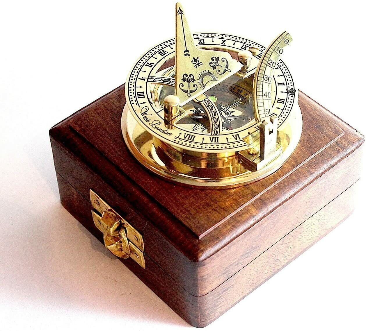 Antique Vintage Sundial Solid Brass Pocket Compass - West London With Wooden Box