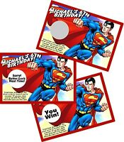 Superman (design 1) Scratch Offs Party Games Game Cards Birthday Party Favors