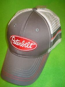 8ea261c01 Details about PETERBILT HAT: Grey / Striped Back Mesh Trucker *Free  Shipping USA *
