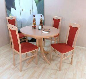 essgruppe 5 tlg auszugtisch rund st hle esstisch farbe buche natur terracotta ebay. Black Bedroom Furniture Sets. Home Design Ideas
