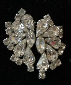 Vintage Rhinestone Clip On Earrings.Gifts Under 35.00,For Her,Accessories,Vintage Jewelry,Black Marquis Rhinestone Earrings,Clip On Earrings